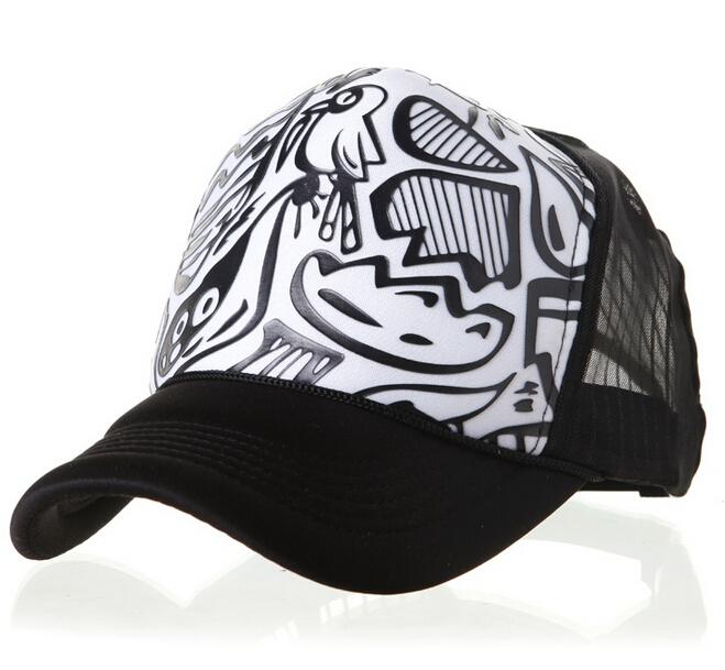 new 2015 High top mesh cap truck caps net black and white Graffiti wave gorras snapback trucker hat,ty4252(China (Mainland))