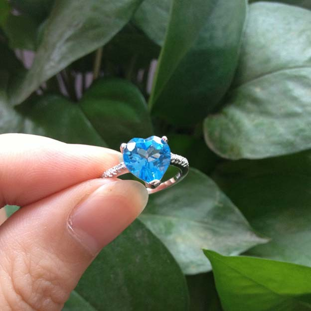 New 2014 Swiss Blue color heart Shape Natural Topaz stone gem for women ring Fashion fine 925 sterling silver jewelry Wholesale(China (Mainland))