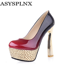 ASYSPLNX black red round toe thin high heels platform woman shoes summer autumn women simple wedding dress Pumps womens female(China (Mainland))