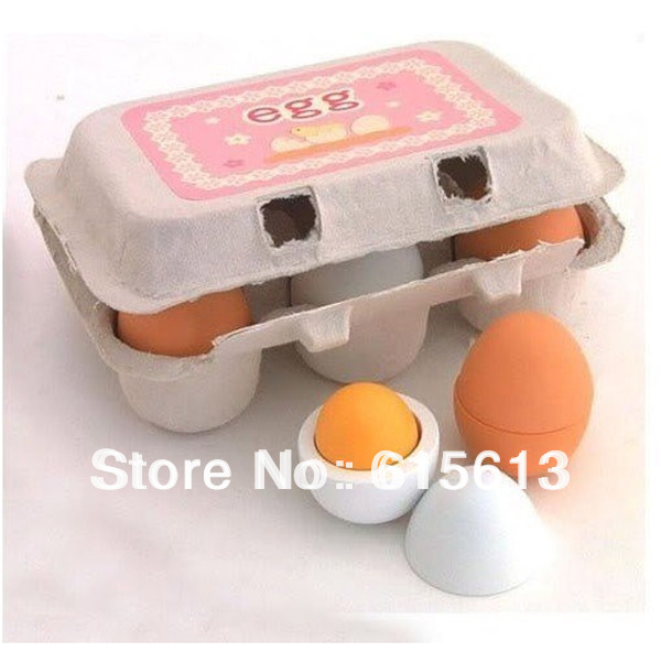 Free shipping,Hot Sale,6pcs Wooden Eggs Yolk Pretend Play Kitchen Game Food Cooking Children Kid Toys RBCM002