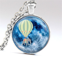 Hot Air Balloon Elephant Blue Full Moon Pendant Necklace Glass Art Print Jewelry Charm Gifts for Her or Him animal space flying(China (Mainland))