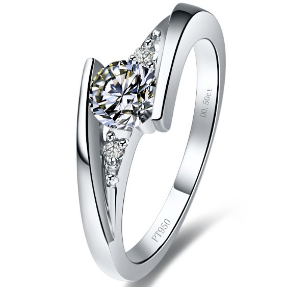 Fine Jewelry Starry Luxury Jewelry Solid 14k Pretty 1ct Synthetic Engagement Bridal Rings For Lady Fine New Year Gift(China (Mainland))
