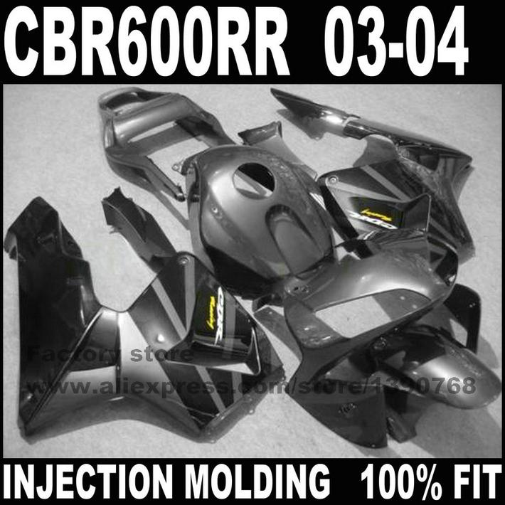 Road/race Injection motorcycle part for HONDA CBR 600 RR 2003 2004 CBR600RR fairings set CBR600 03 04 black gun gray fairing ki(China (Mainland))