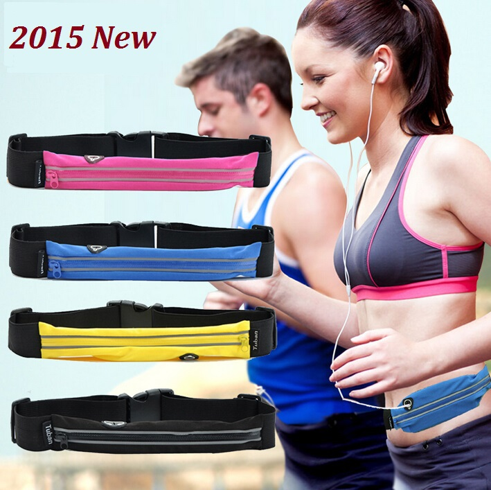 2015 New Sports waist pack travel storage bag close-fitting invisible belt anti-theft mobile phone bag coin purse running bag(China (Mainland))