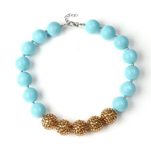 5Pcs Baby Kids Solid Gumball Beads Chunky Necklace Simple Design Princess Girls Bubblegum Necklace for Party