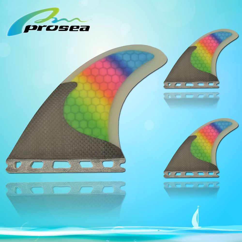 SPECIAL STYLE RAINBOW COLOR SURFBOARD FINS G5 SIZE FUTURE BASE(3 PCS SET)(China (Mainland))