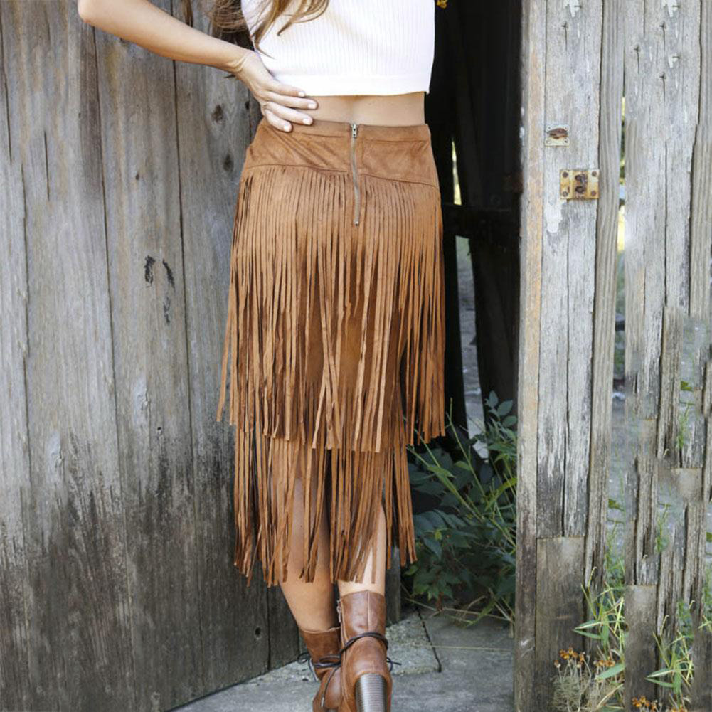 Women Female New Arrival Tassels Suede High Waist Bodycon Slim Good Selling Chic Stylish Long Maxi Skirts women Black/Brown(China (Mainland))