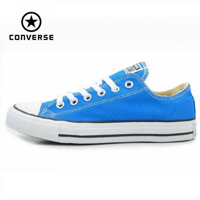 Первоначально конверс all star мужская и женские кроссовки голубой холст обувь мужчины женщины низкий скейтбордингом обувь бесплатная доставка