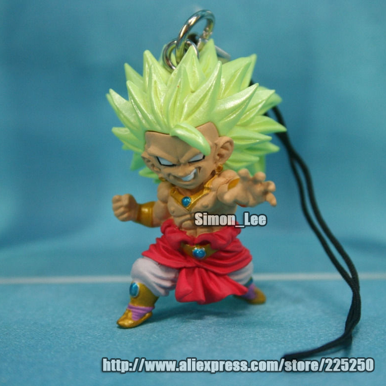 Anime DRAGONBALL Dragon Ball Z/GT Original BANDAI Phone/Key Chain Gashapon PVC Toys Action Figures UDM 3 Super Saiyan Broly(China (Mainland))