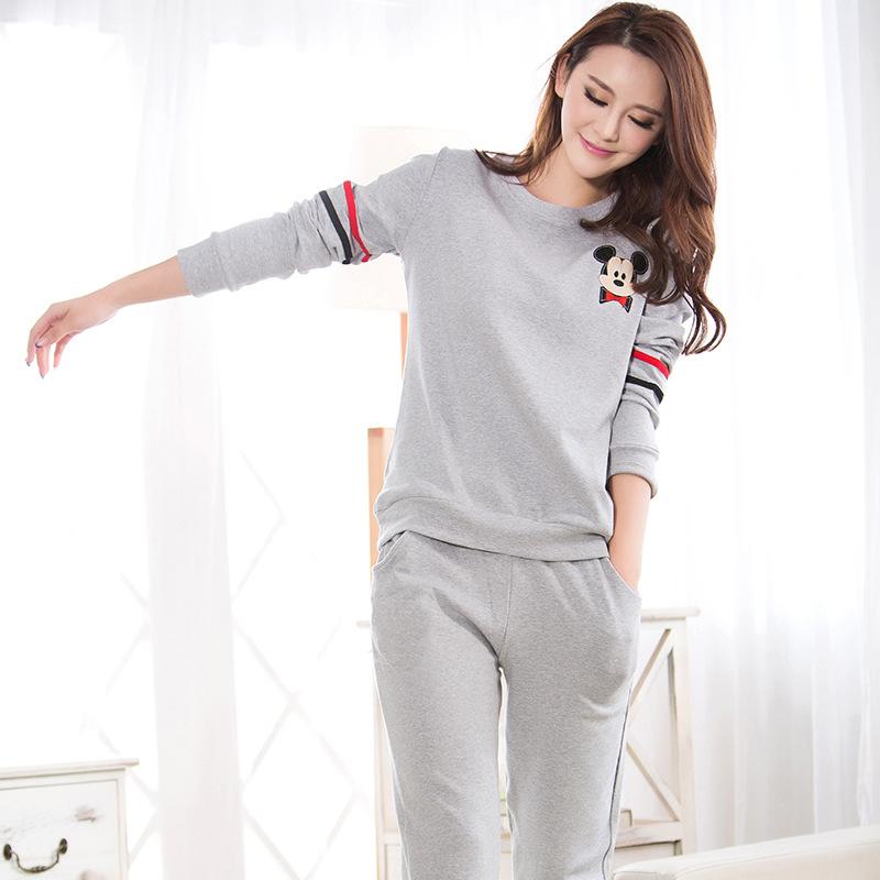 Lingerie2015 autumn new round neck long-sleeved women  pajamas sets cotton needle women outer wear sports leisure suit tracksuit
