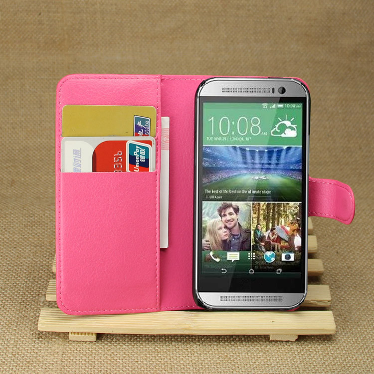 HTC M8 mini litchi texture wallet case one Mini 2 flip leather stand card slot - BOSO Technology Co., Ltd (ShenZhen store)
