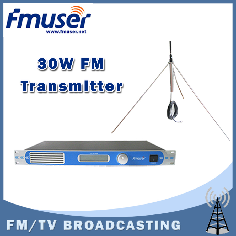 Free shipping FMUSER FU-30/50B 30W PLL professional FM radio transmitter 87 to 108MHZ with 1/4 GP antenna kit(China (Mainland))