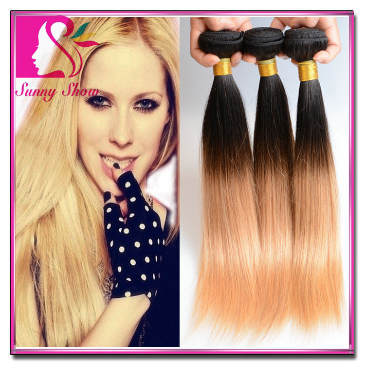 Guangdong New Star Brazilian Ombre Hair Extensions Straight Ombre Two Tone Human Hair Weave Ombre Brazilian Hair 3 Bundles 1B27