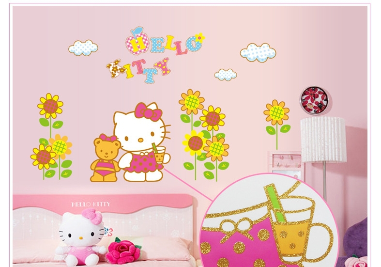 HELLO KITTY And Cubs Personalised Name Cartoon Wall Sticker Art Decal Vinyl Mural Painting Girl Room Decor kids Size 90*60cm(China (Mainland))