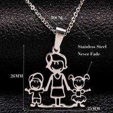 Naszyjnik ze stali nierdzewnej Mama rodzina naszyjniki biżuteria kolor srebrny miłość chłopiec dziewczyna wisiorek Choker naszyjnik kobiety prezent N2201(China)