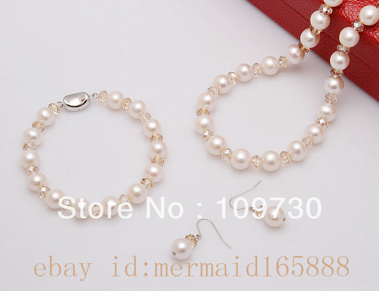 Jewelry 00352 9-10mm White Akoya Cultured Pearl Necklace/Bracelets/Earrings<br><br>Aliexpress