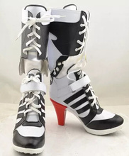 Batman Suicide Squad Harley Quinn Movie Halloween Cosplay Costumes Shoes Boots High Heels Custom Made For Adult Women US Size(China (Mainland))