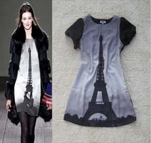 2013 New Fashion Women Summer Clothing Novelty Lady's Chiffon Brand Dress Paris Eiffel Tower Print Dresses