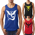 Pokemon Go Men 2016 New Fashion Character Team Mystic Team Instinct Team Valor Sleeveless Tank Tops