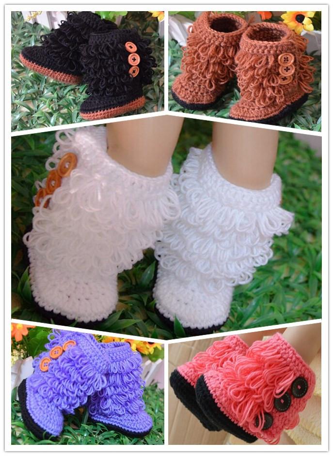Pulsanti botones scarpe neonata bébé toddle Pulsanti Crochet scarpe bambino del bambino Crochet chaussures infant toddler chaussures(China (Mainland))