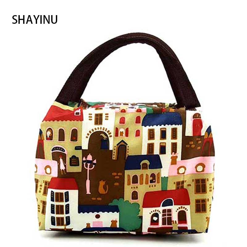 Hot sale Fashion Lady Women Handbag lunch box bag Character Cartoon prints Candy color bag Shopping lunch Totes makeup bag B0093(China (Mainland))