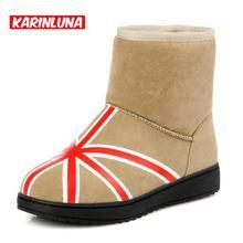 KarinLuna Tamaño 34-40 de Invierno Muy Cálido Mantener Botas Nieve de Las Mujeres 3 Colores Zapatos de Base Plana de Las Mujeres Ventas Calientes botas(China (Mainland))