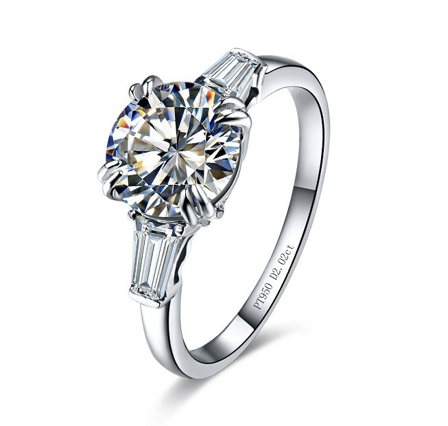 Wholesale Noble Bright 2.02 Ct Synthetic Diamond Ring Wedding Ring High Quality Synthetic Diamond Engagement Ring for Women(China (Mainland))