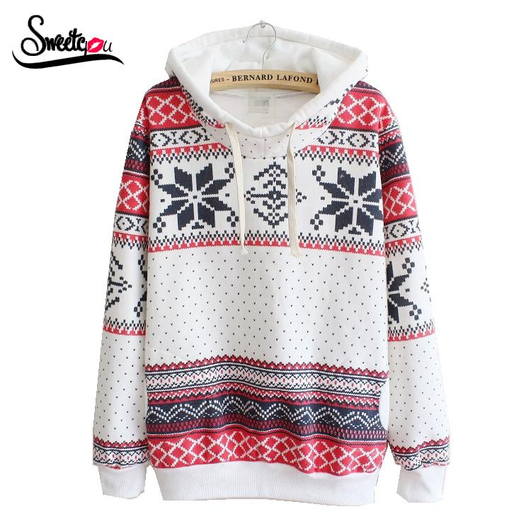 Sweetyou 2015 Fashion Sport Tracksuits Pockets Sweatshirt Fleece Geometric Snow Printed Women Hoody Warm Casual Hoodies Pullover(China (Mainland))
