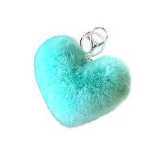 Adorável Símbolo do coração Chaveiro Pompom pompom De Pele Macia Keychain Macio do falso Pele De Coelho Pom Poms Bola Carro Kay Anel presente(China)