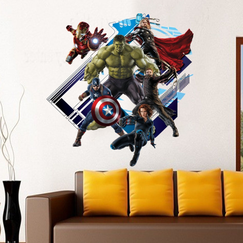 % newest impression 3D cartoon movie Captain the Avengers home decal wall sticker/handsome boys love kids room decor child gifts(China (Mainland))