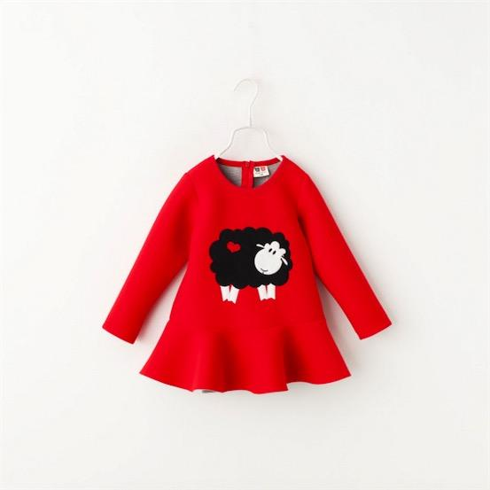Kids Girls Cute Ship Embroider Ruffles Dress Red Color Long Sleeve Party Dress Cotton Spring Casual Dresses Children Clothes Who<br><br>Aliexpress