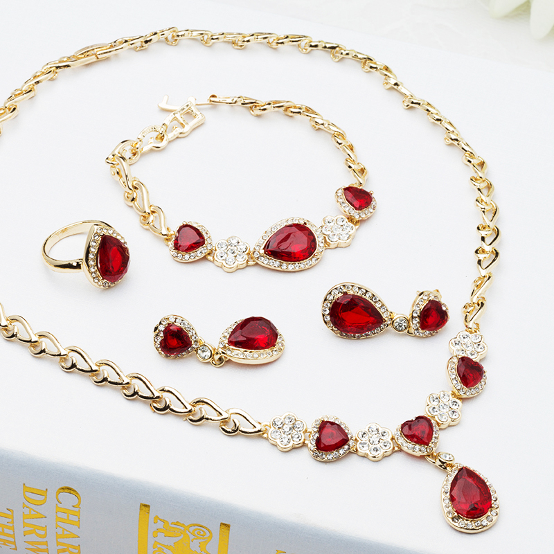 2015 Fashion Indian Jewelry Red/blue Imitation Gemstone Bangles Bracelet&Necklace&Ring&Earring Jewellery Sets J016