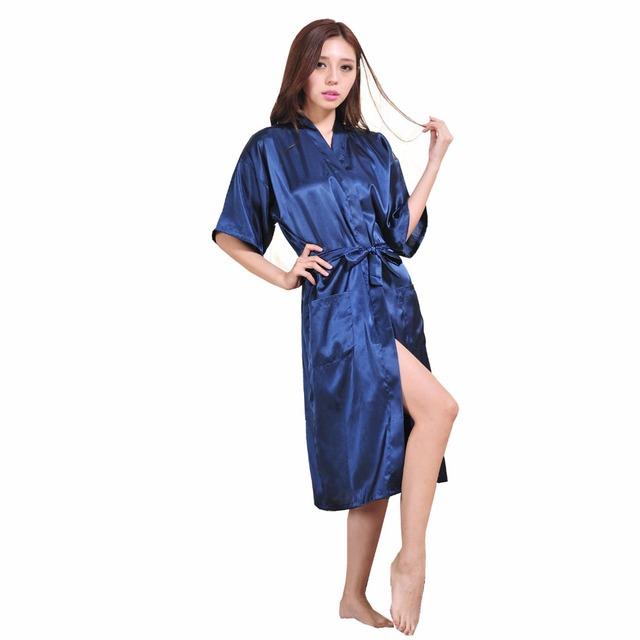 Темно-синий китайских женщин район ночной рубашке сексуальная юката кимоно платье с поясом pijama feМиниno Большой размер S-XXXL NR045