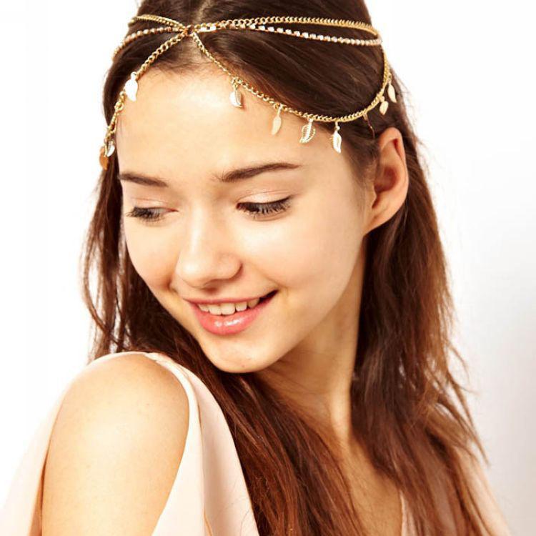 Womens Fashion Metal Chain Jewelry Leaf Elastic Hair Band Headband Accessories High Quality Headwear for Lady Free Shipping(China (Mainland))