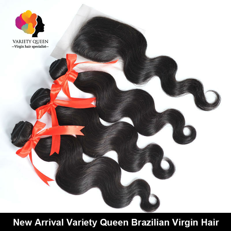 Four Bundles Virgin Brazilian Body Wave Hair Extension and One Closure 4*4 Lace with Free Part Closure Bleached Knots(China (Mainland))