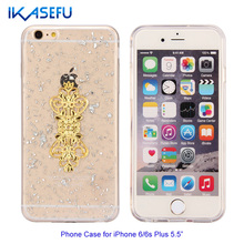 IKASEFU Fashion Phone Case for iPhone 6 6s Plus Silver Glitter Mobile Phone Case for Women TPU Transparent Flowers Series Cover