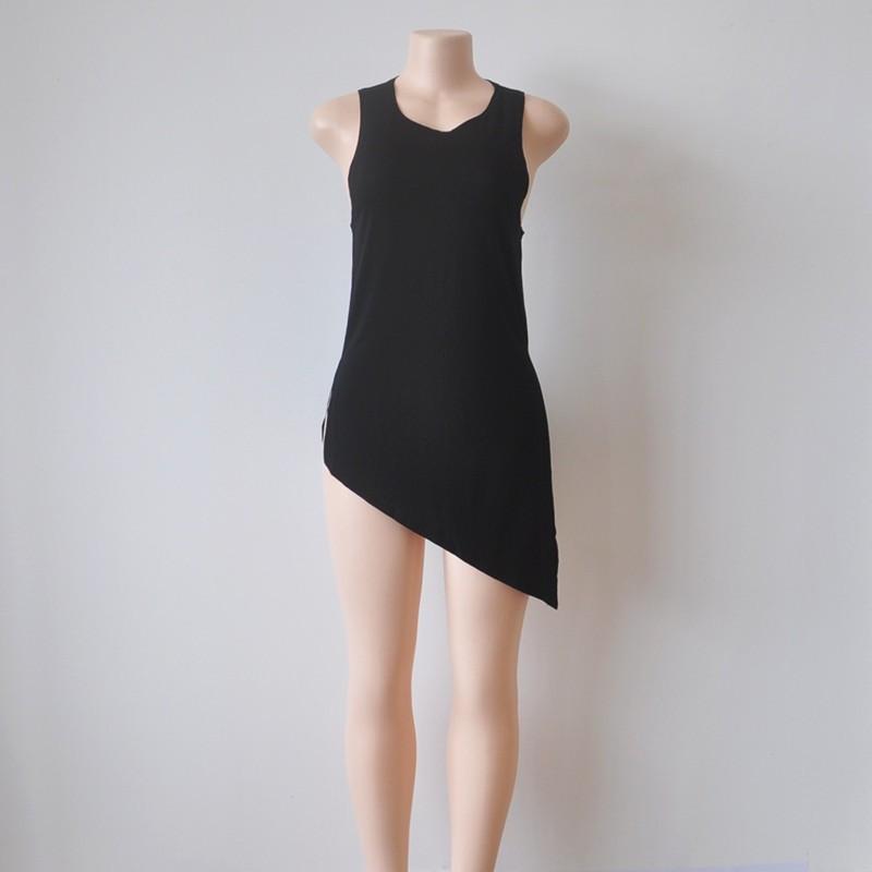 Women Summer Slim Irregular Tops Sleeveless T-shirt Solid O-neck Size Split Lady's New Sexy Shirt Hot Sale for Gift