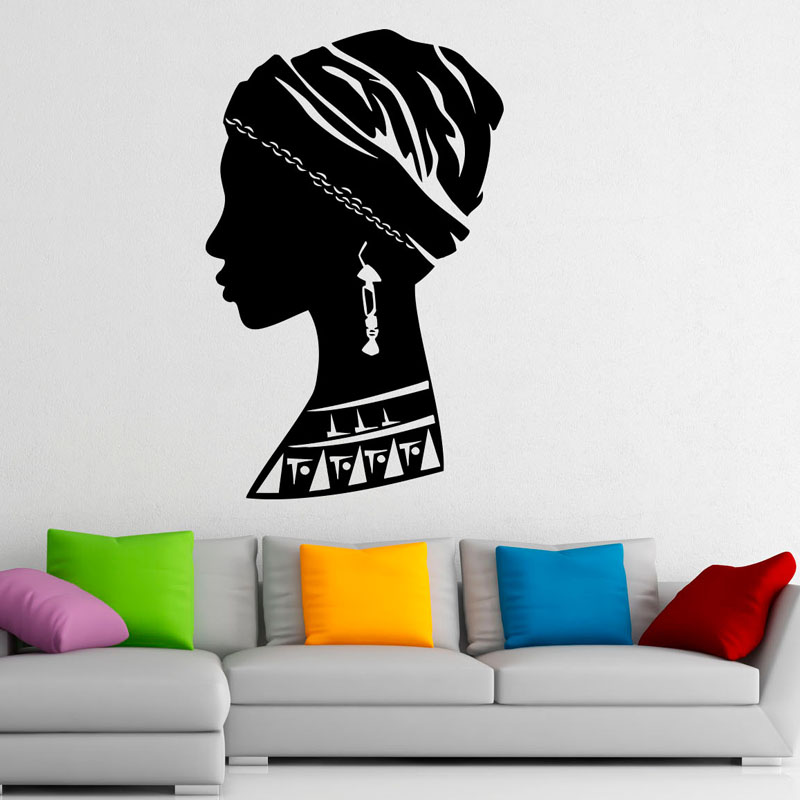 African Girl Removable Wall Sticker For Bedroom Beautiful Woman Wall Decals Home Decoration PVC Creative Art Stickers