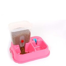 Cat Automatic Feeders pet Dual Automatic  Feeding Drinking Fountains Dog Bowl  Blue Pink  Pet Products (China (Mainland))