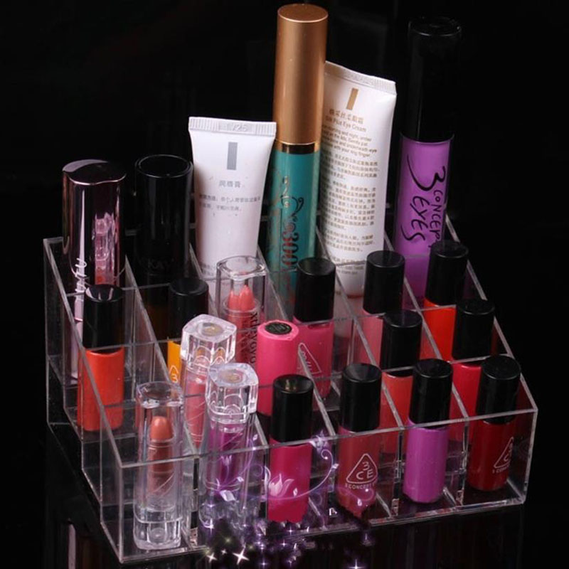 24 Lattices Lipstick Holder Display Stand Clear Cosmetic Organizer Sundry Makeup Storage Case Hot Selling YL670148(China (Mainland))