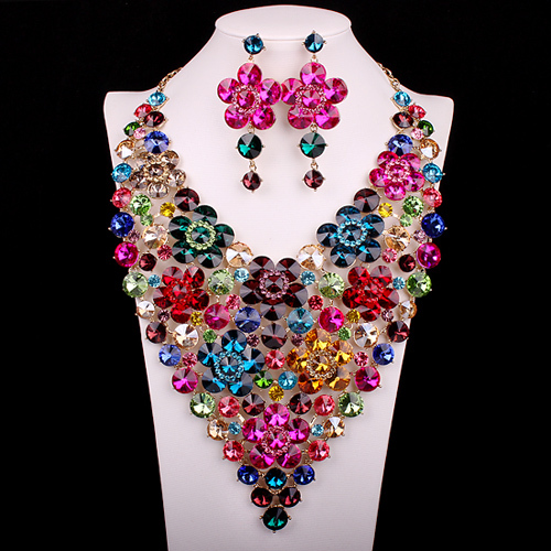 Super Big Popular bridal party crystal gold filled women jewelry set flower collar necklace earring set for brides or bridesmaid<br><br>Aliexpress
