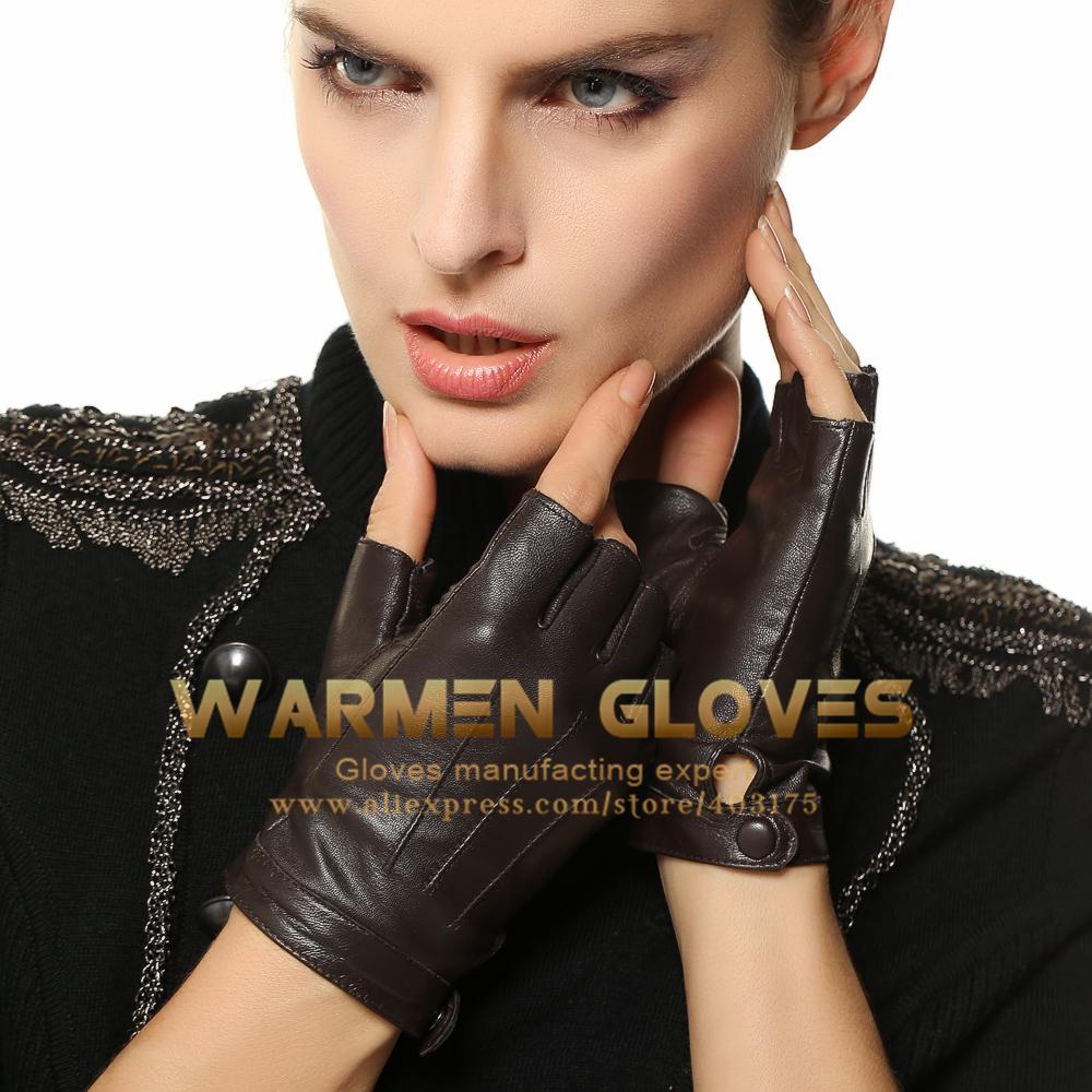 Warmen Elegant Women Genuine Nappa Leather Fingerless Unlined Gloves(China (Mainland))
