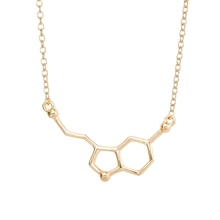 1PC N012 New 2015 Serotonin Molecule Chemistry Necklace Small Pendant Necklaces for Women Cute Simple Party