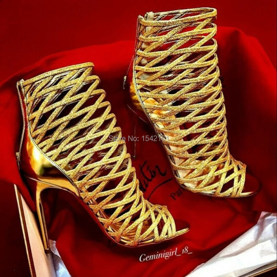Real Pics New Mille Cinque Open Toe Sexy Cutouts Mesh Designer High Heels Shoes Woman Fashion Summer Ankle Women Sandals Boots<br><br>Aliexpress