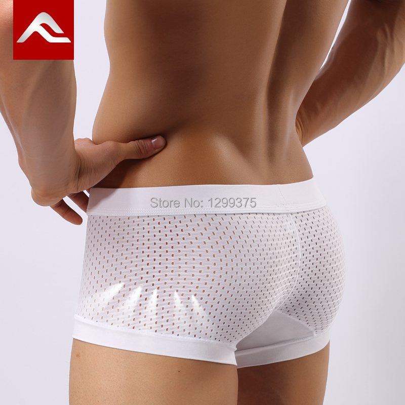 free shipping /men's underwear/ men's boxer shorts/Acefit breathable transparent four angle U convex modal ice silk boxer shorts(China (Mainland))