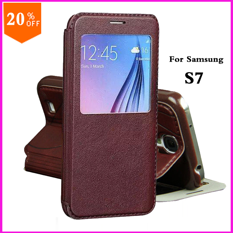 original leather case for samsung galaxy s7 s 7 case by luxury pu leather flip back cover cell phone accessories cases(China (Mainland))