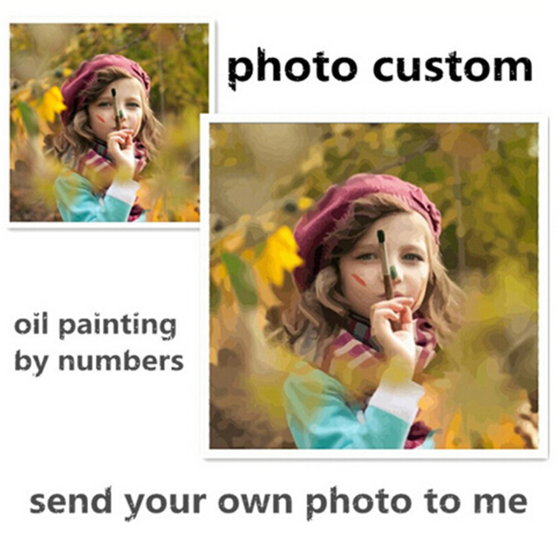 Photo Custom Make Your Own Digital Canvas Oil Painting Framless Picture Painting By Numbers Wall Art DIY Oil Painting(China (Mainland))