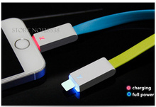1 Pcs Newest Visible Flashing LED Bright 8 Pin USB Charger Data Cable Flat Cord For iPhone 5/5S/5C 6/6Plus data transmission Hot(China (Mainland))