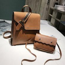 2019 novo pu couro do plutônio mochila feminina moda sacos de escola mochilas para adolescentes marrom vintage 2 pçs mochila sac a dos(China)