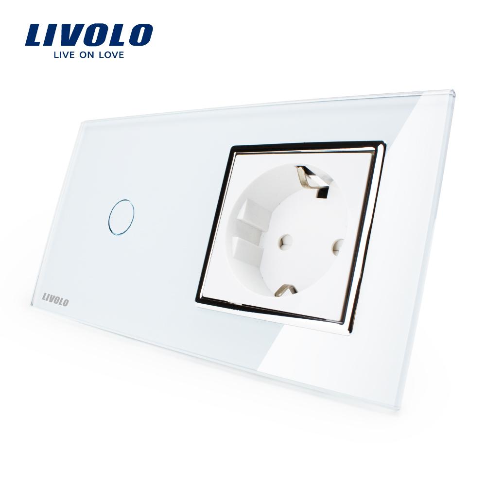 Гаджет  Livolo EU standard Touch Switch, White Crystal Glass Panel, 110~250V 16A Wall Socket with Light Switch, VL-C701-11/VL-C7C1EU-11 None Бытовая электроника